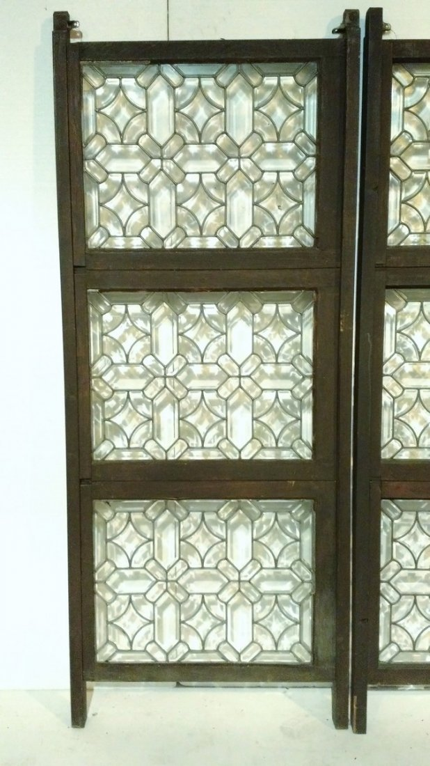 Pair of 3 Panel Beveled Leaded Glass Room Dividers - 2