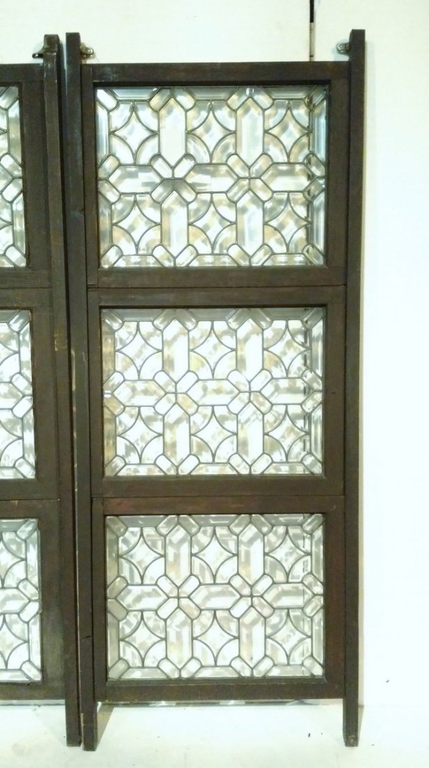 Pair of 3 Panel Beveled Leaded Glass Room Dividers - 3