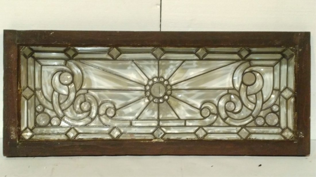 Ornate Leaded Glass Transom Window-Starburst