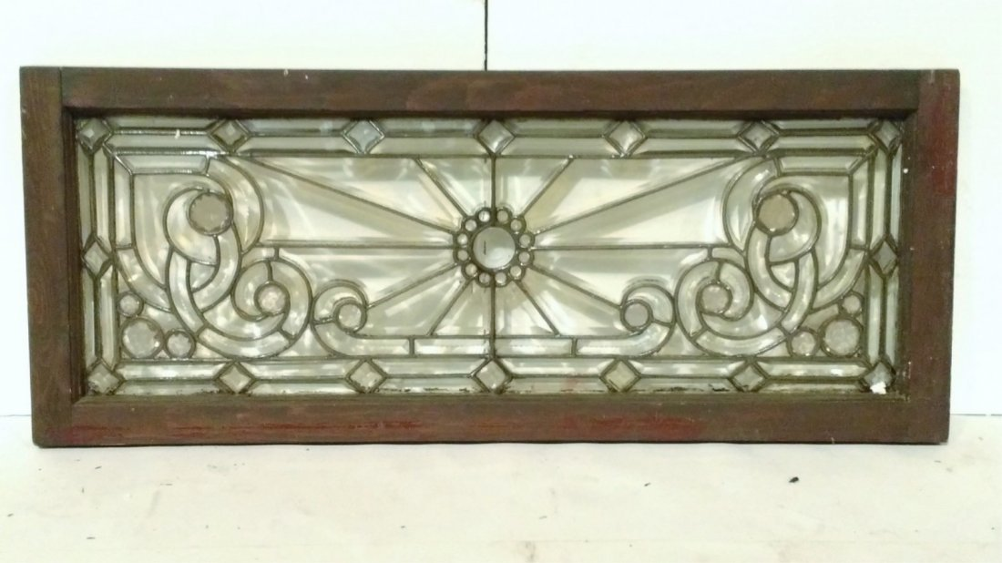 Ornate Leaded Glass Transom Window-Starburst - 2