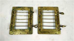 Pair of Brass Ship Portholes wSecurity Bars