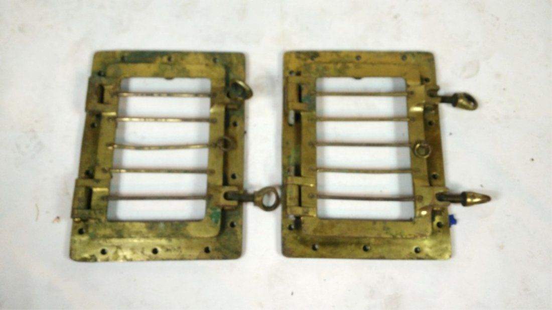 Pair of Brass Ship Portholes w/Security Bars