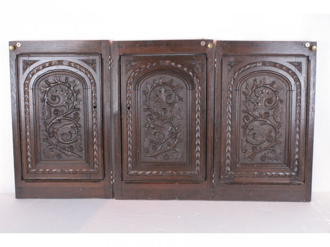 3 Vintage, Hand-Carved Oak Doors