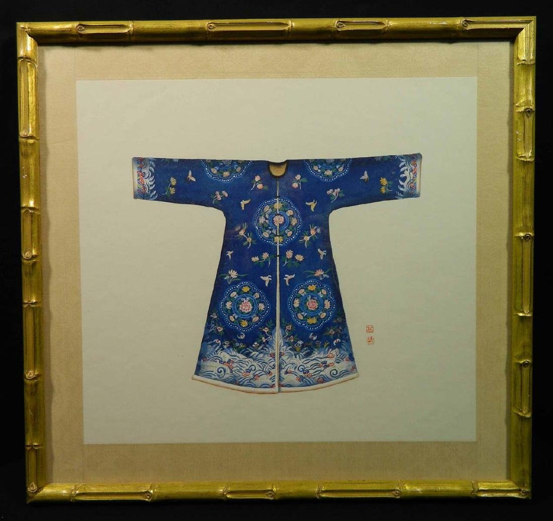 20th C Chinese W/C Silk Robe Signed Peng Wei?