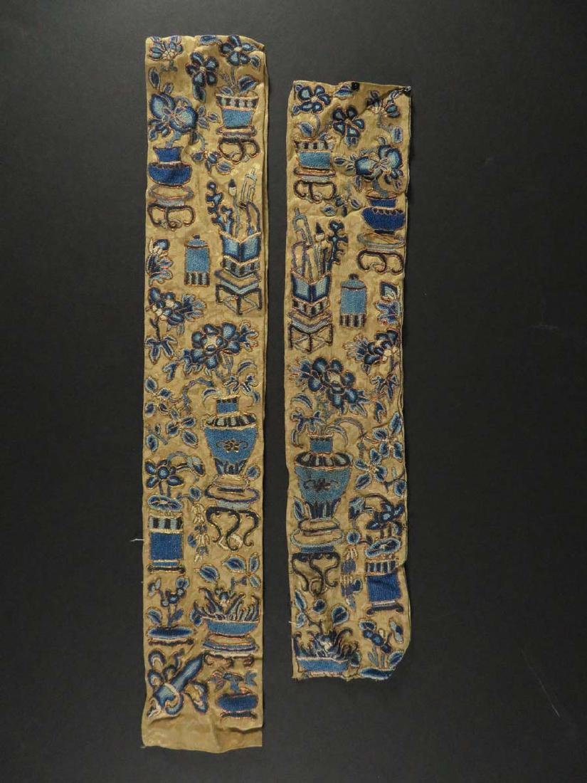 Chinese Two Embroidered Silk Sleeve Ornaments