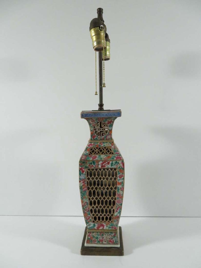 Chinese Millefiori Reticulated Porcelain Lamp
