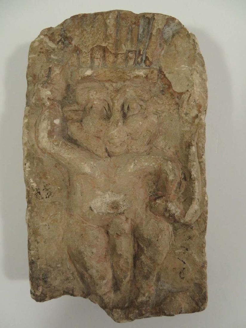 Ancient Egyptian Carved Stone Relief Panel God Bes