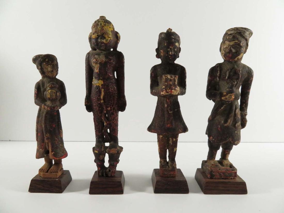 Asian Tibet 4 Polychrome Wood Sculpture Figures