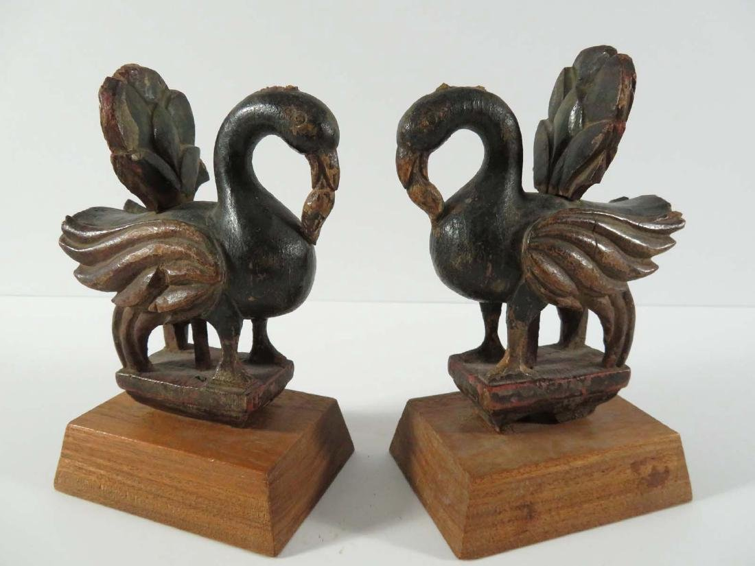 Middle Eastern Pair Wood Polychrome Birds Stands