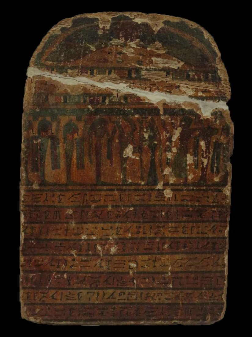Ancient Egyptian Painted Wood Grave Stele Horemheb