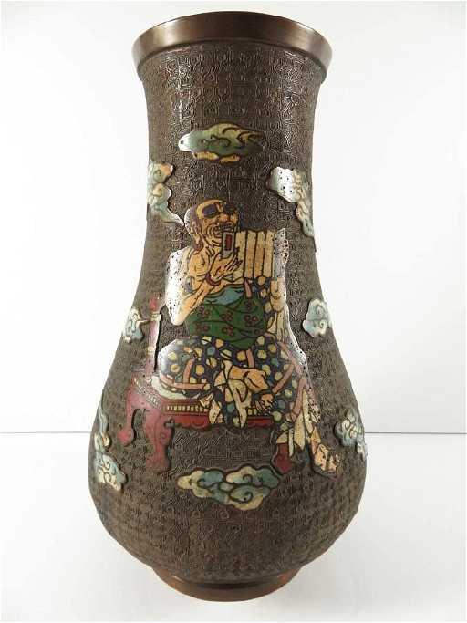 Japanese Bronze Champleve Vase Oshima Joun