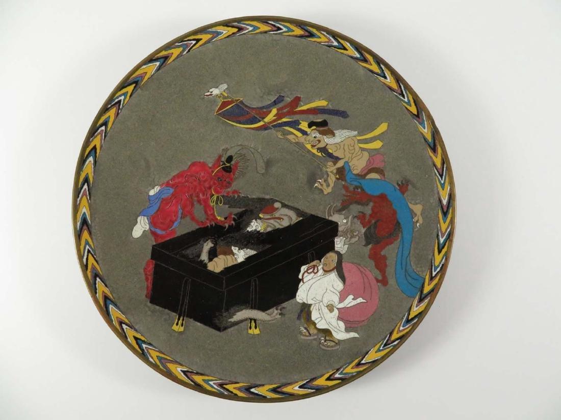 Japanese Cloisonne Platter Oni Demons Box
