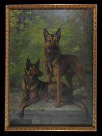 Percival Rosseau Large O/C Two German Shepherds