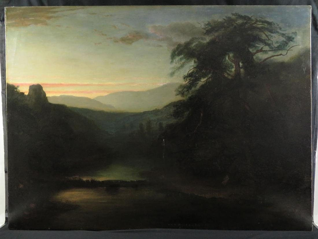 19th C XL 44x60 Luminist Landscape w/ Lyre Player