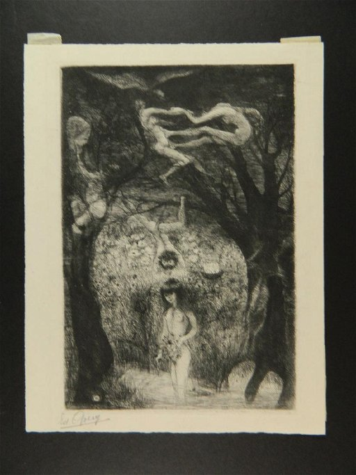 Edouard Goerg Etching Nudes in Forest French