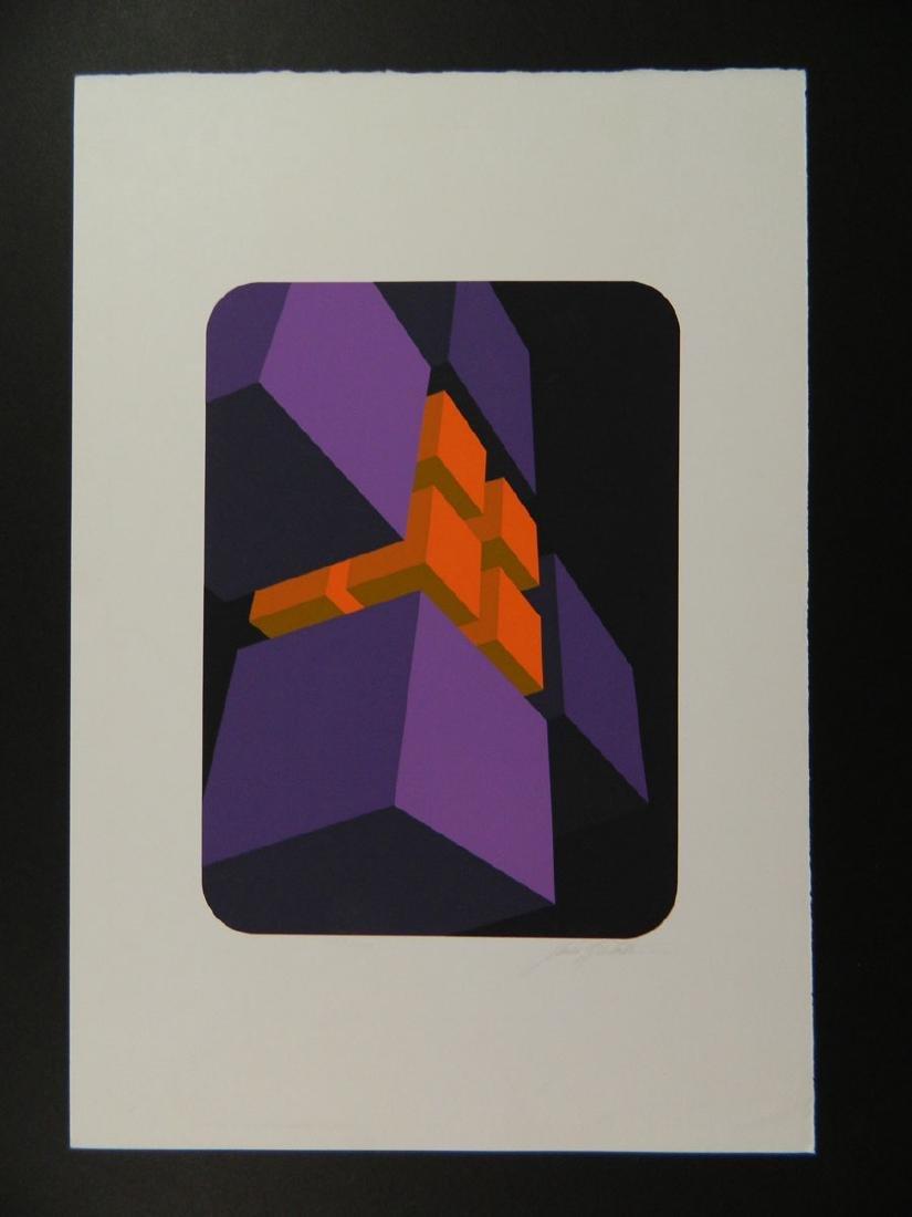 Marko Spalatin Mid Century Op Art Purple and Orange