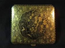 EXC Japanese Mixed Metal Box Bird Leaf Design