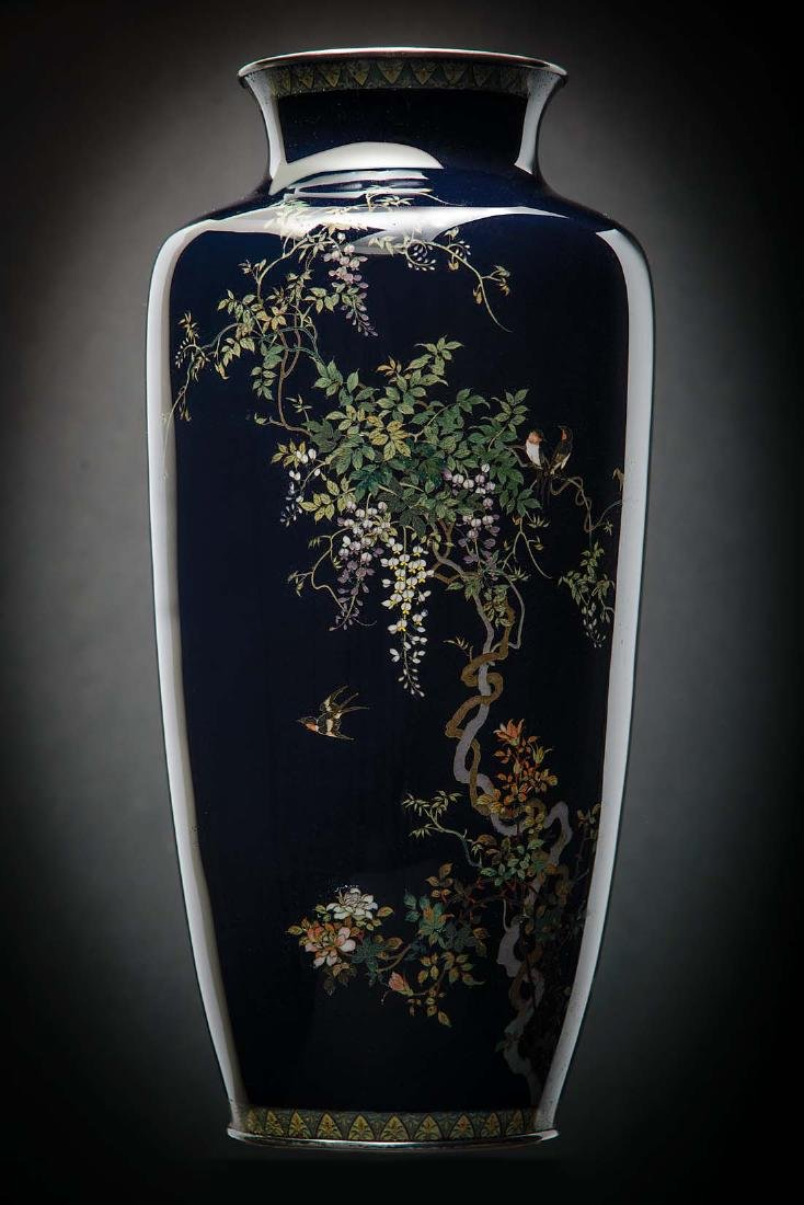 Kumeno Teitaro LG Japanese Cloisonne Vase Silver