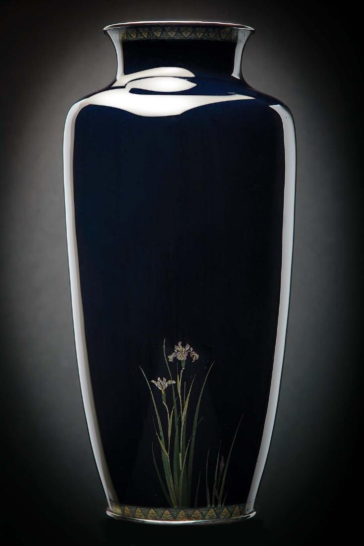Kumeno Teitaro LG Japanese Cloisonne Vase Silver - 2