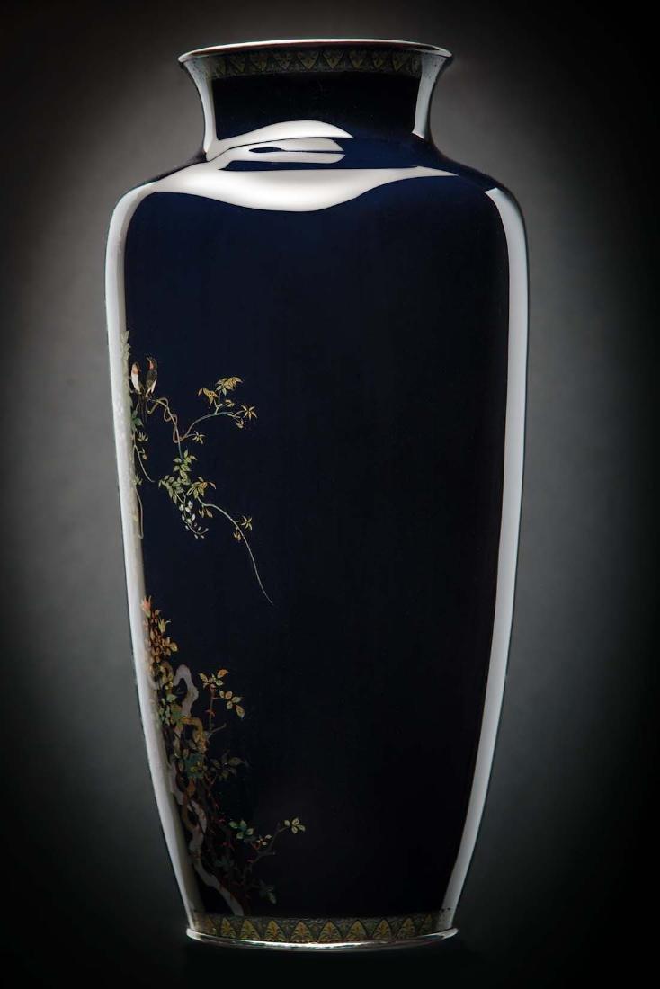 Kumeno Teitaro LG Japanese Cloisonne Vase Silver - 3