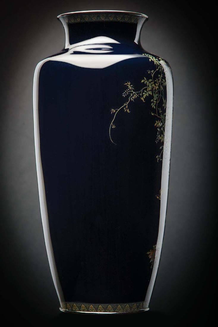 Kumeno Teitaro LG Japanese Cloisonne Vase Silver - 4