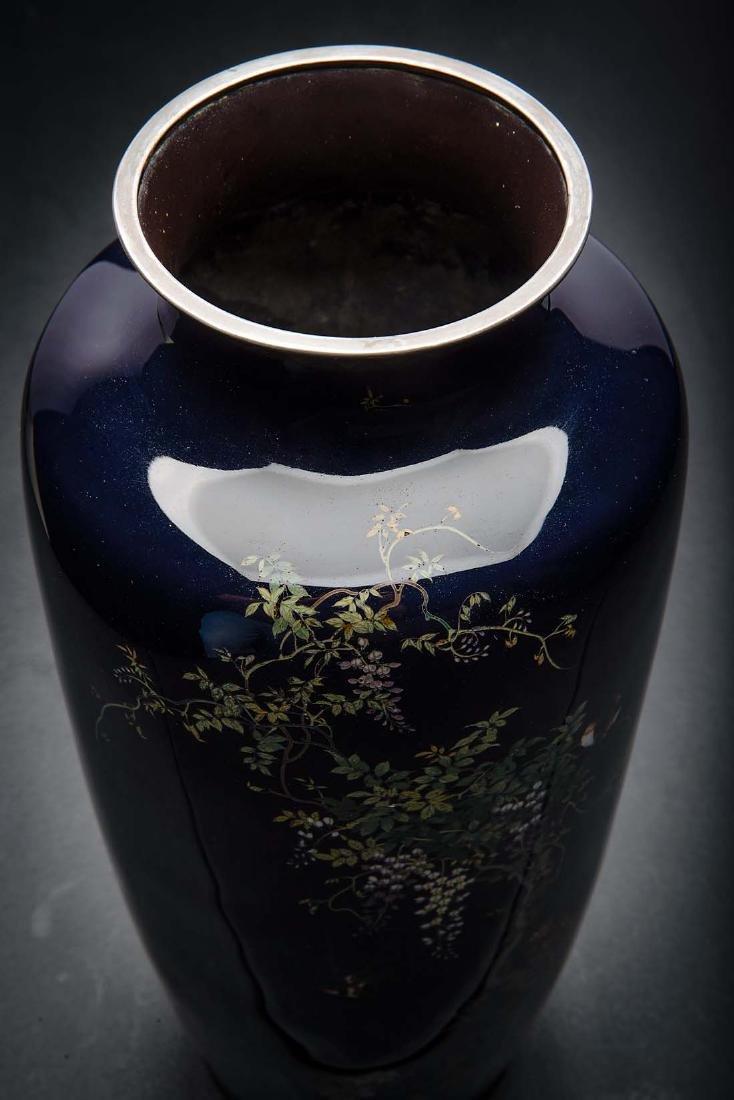 Kumeno Teitaro LG Japanese Cloisonne Vase Silver - 5