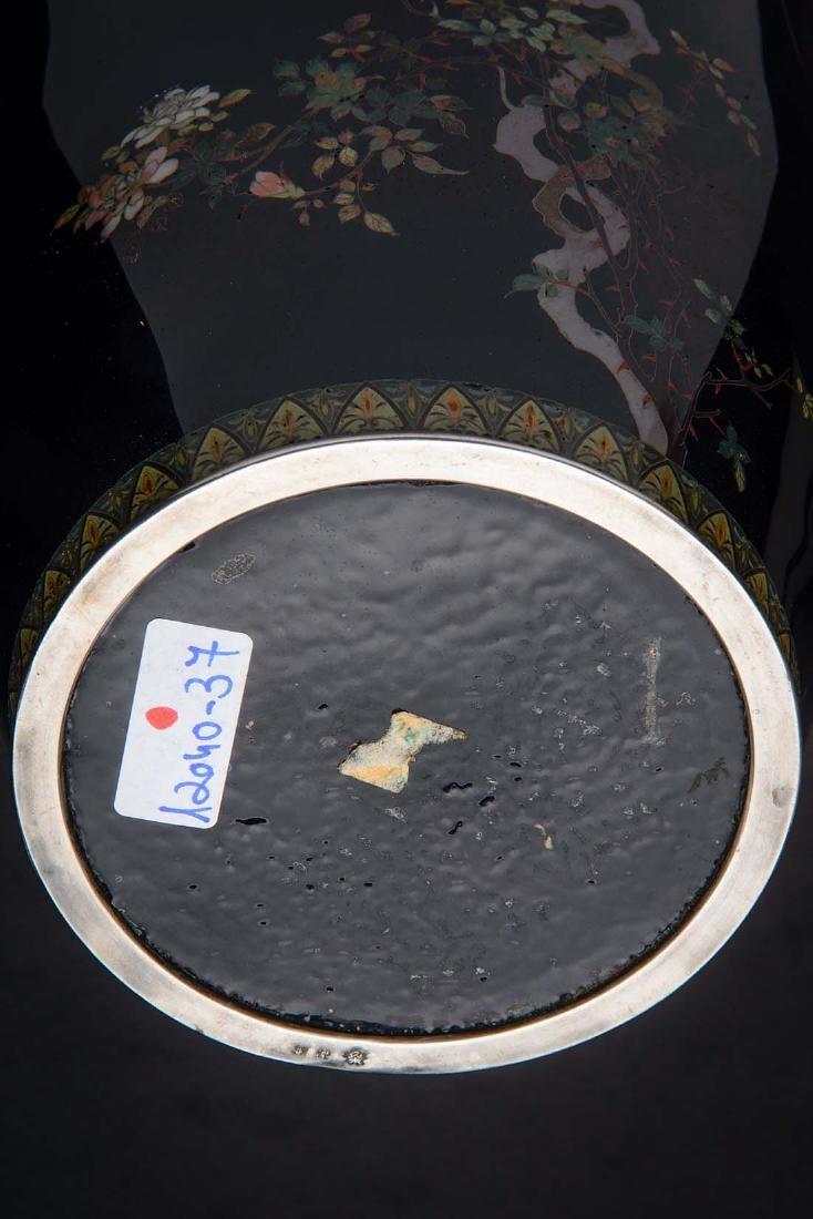 Kumeno Teitaro LG Japanese Cloisonne Vase Silver - 6