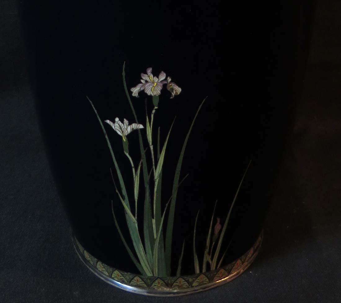 Kumeno Teitaro LG Japanese Cloisonne Vase Silver - 7
