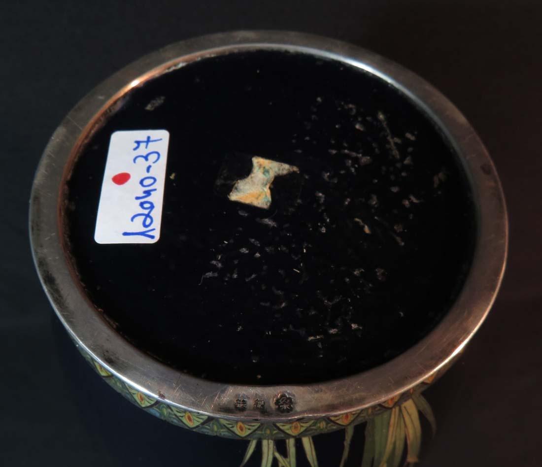 Kumeno Teitaro LG Japanese Cloisonne Vase Silver - 9