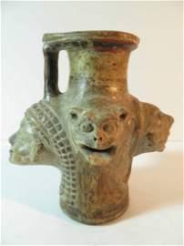 Antique East Greek Polychrome 4 Headed Oinochoe