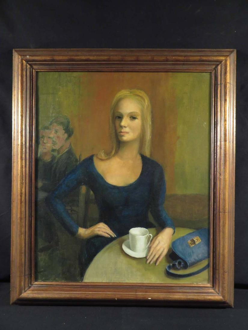 Fine Oil Portrait WPA Era Woman Café