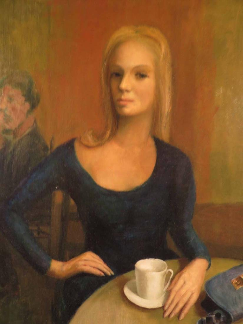 Fine Oil Portrait WPA Era Woman Café - 3