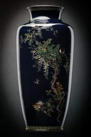 """Kumeno Teitaro 12"""" Japanese Cloisonne Vase Silver"""