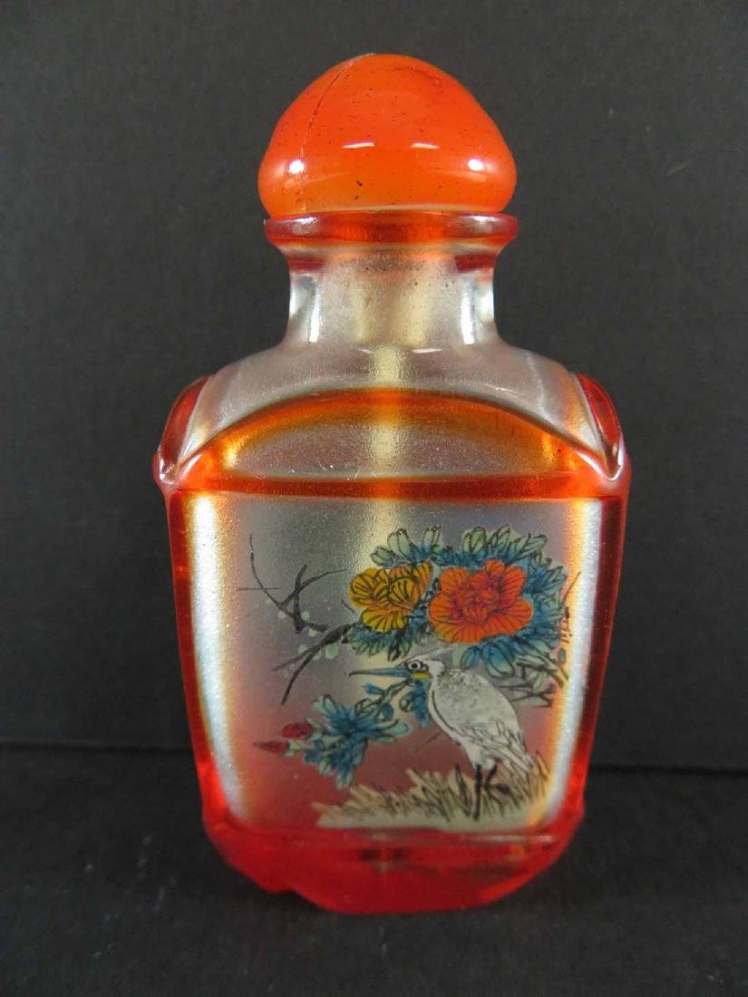 Chinese Snuff Bottle Glass Inside Painted Flowers