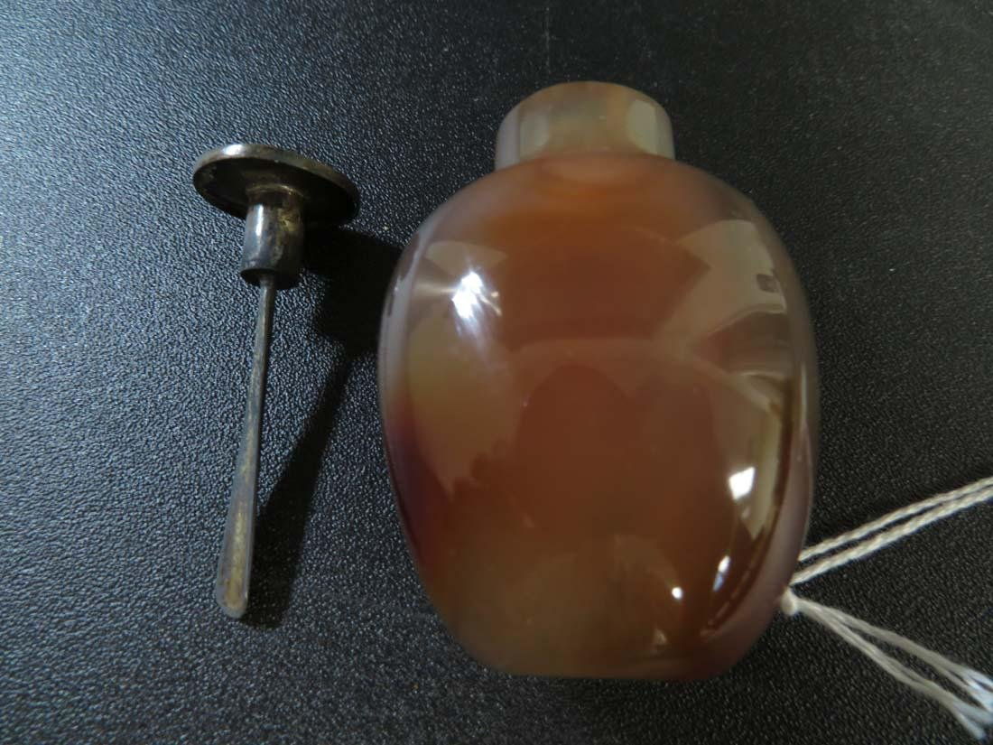 Chinese Snuff Bottle Agate ? Silver ? Top - 7
