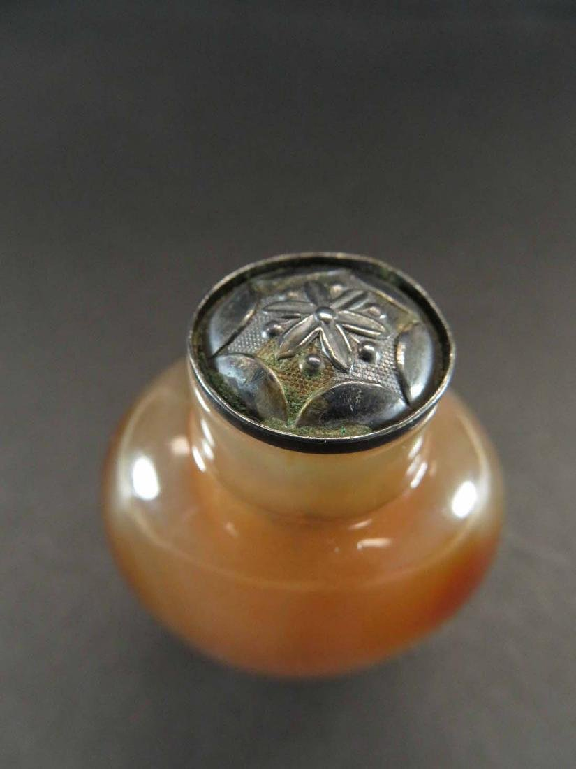 Chinese Snuff Bottle Agate ? Silver ? Top - 4