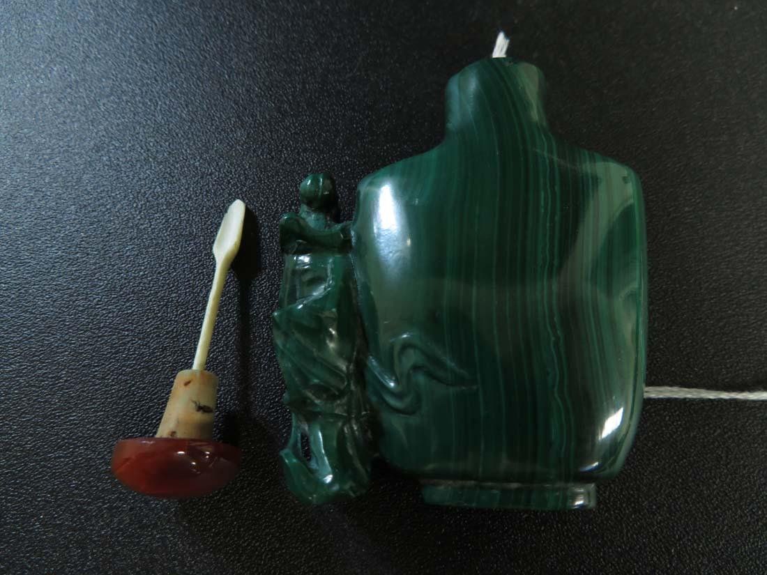 Chinese Snuff Bottle Malachite Carved w/ Woman Figure - 7