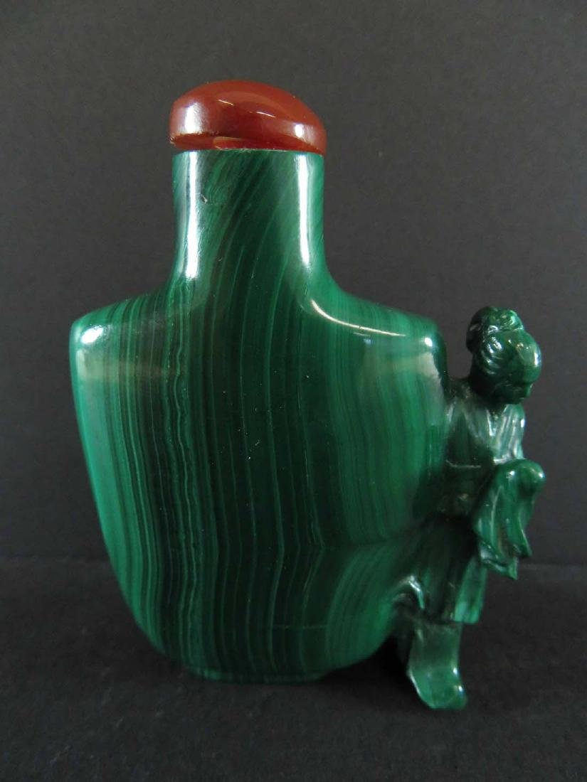 Chinese Snuff Bottle Malachite Carved w/ Woman Figure