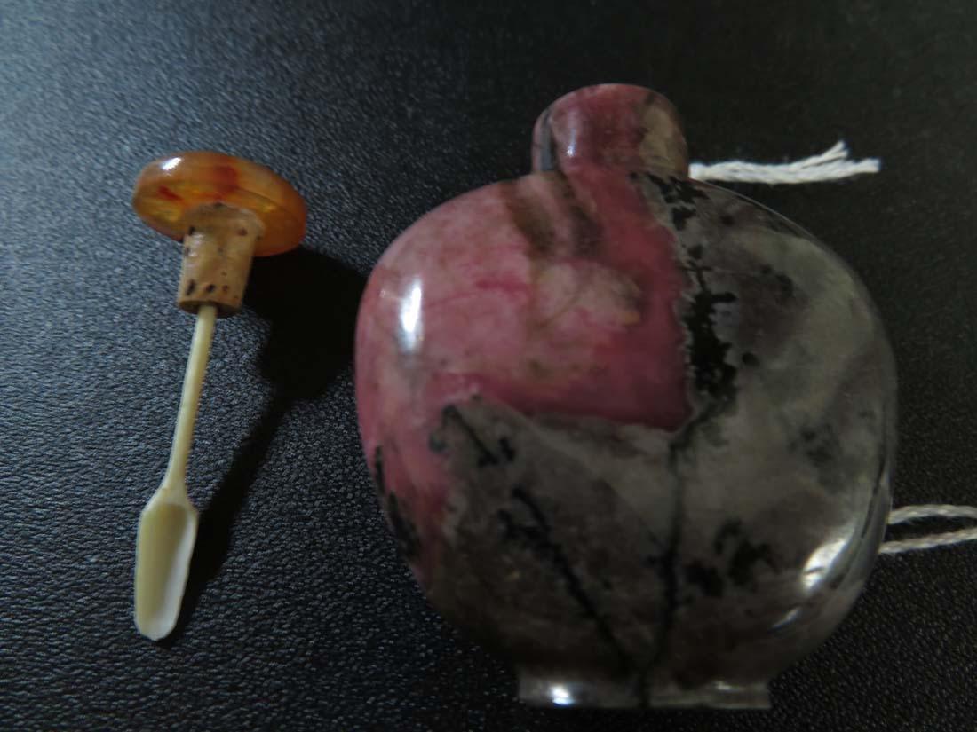 Chinese Snuff Bottle Pink Stone - 7