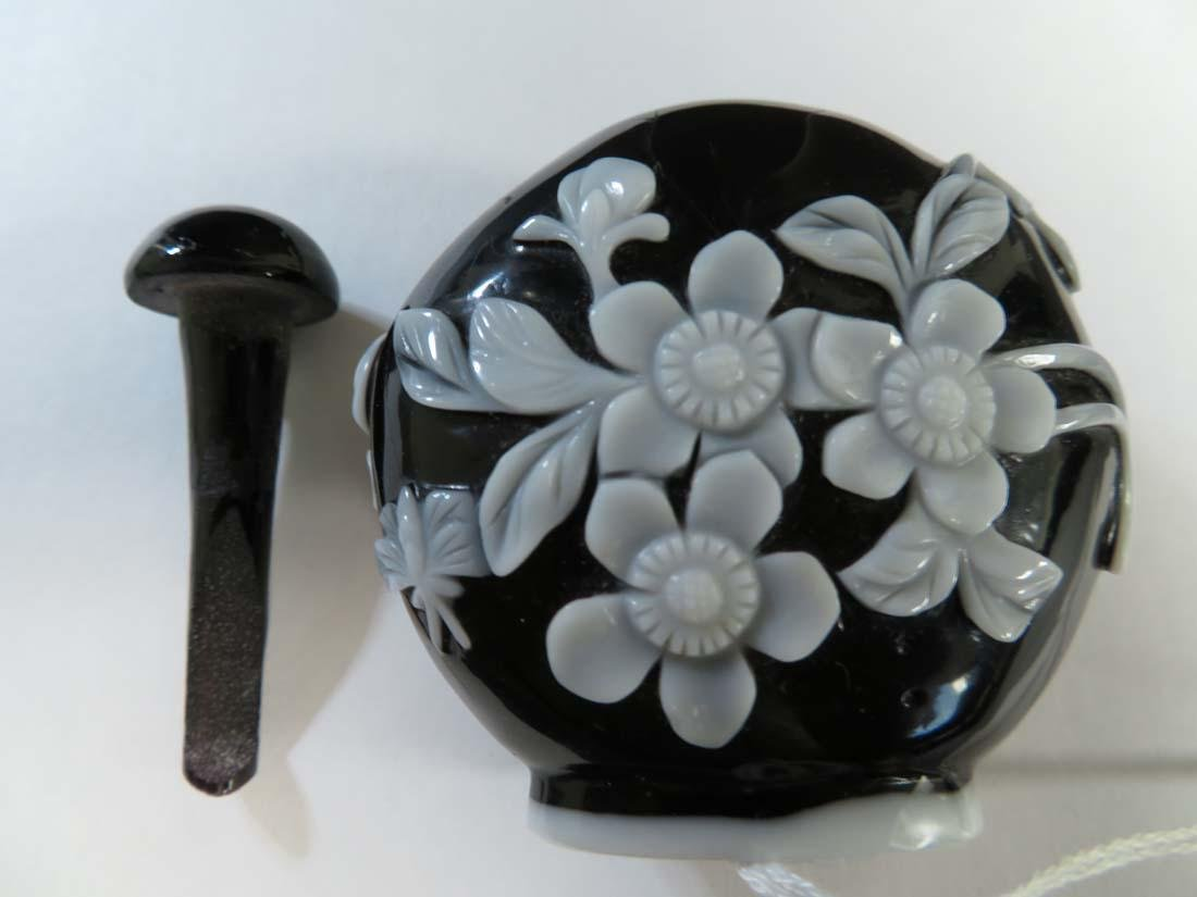 Chinese Snuff Bottle White Overlay Black Glass - 7