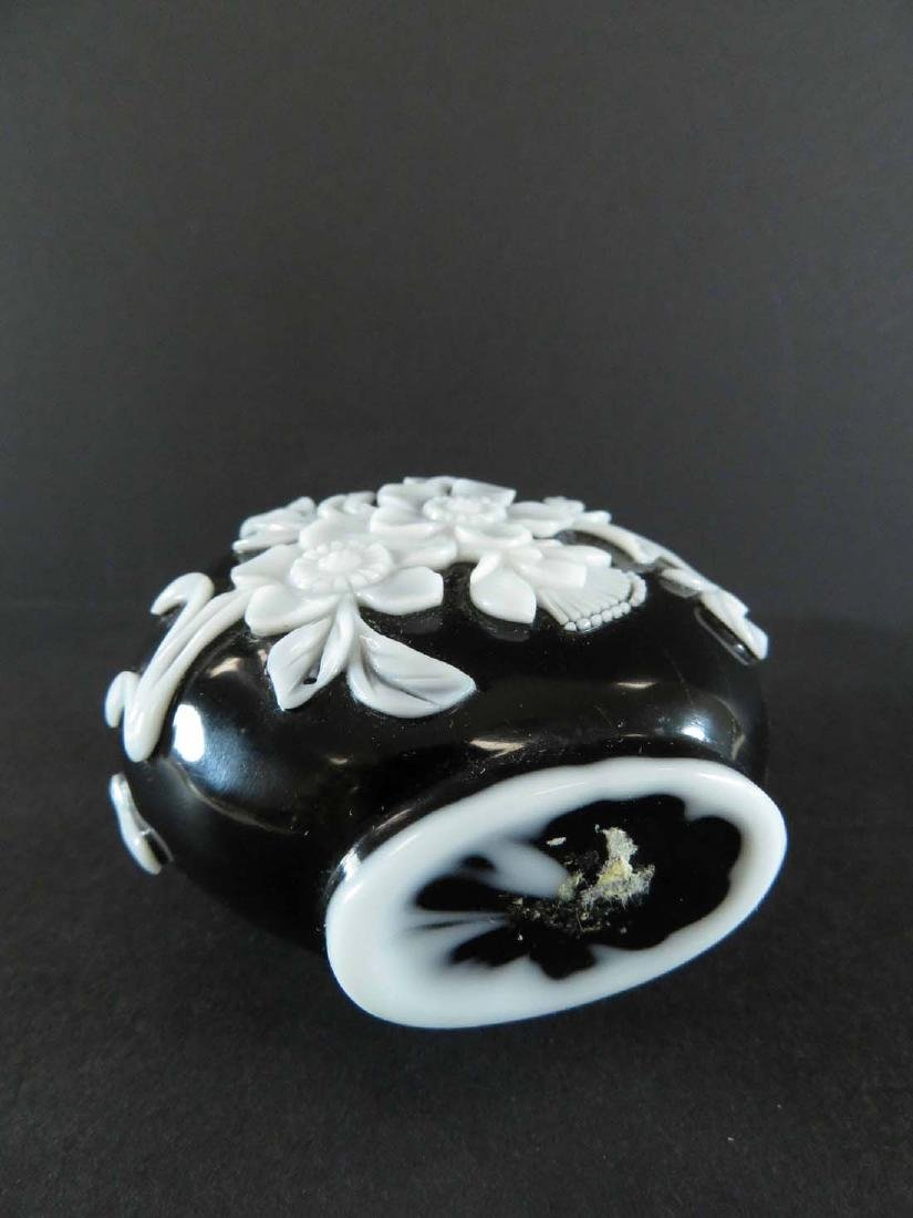 Chinese Snuff Bottle White Overlay Black Glass - 5