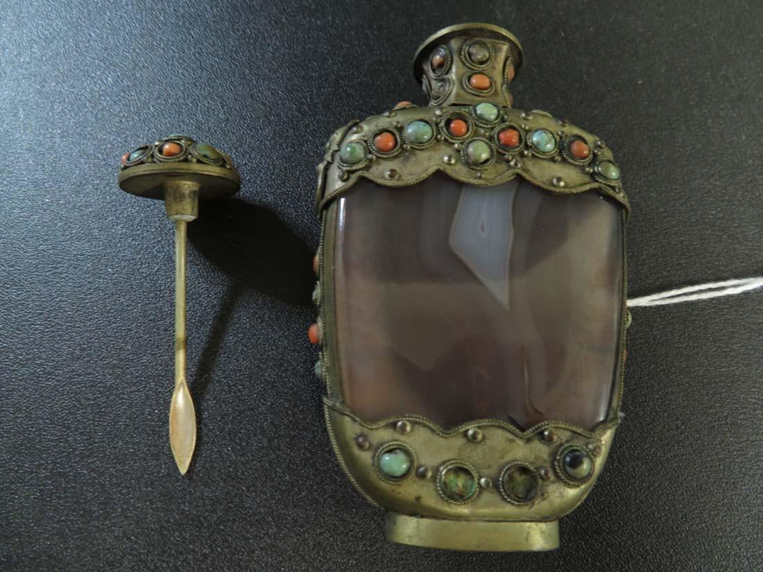 Chinese Mongolian Snuff Bottle Agate Gilt - 7