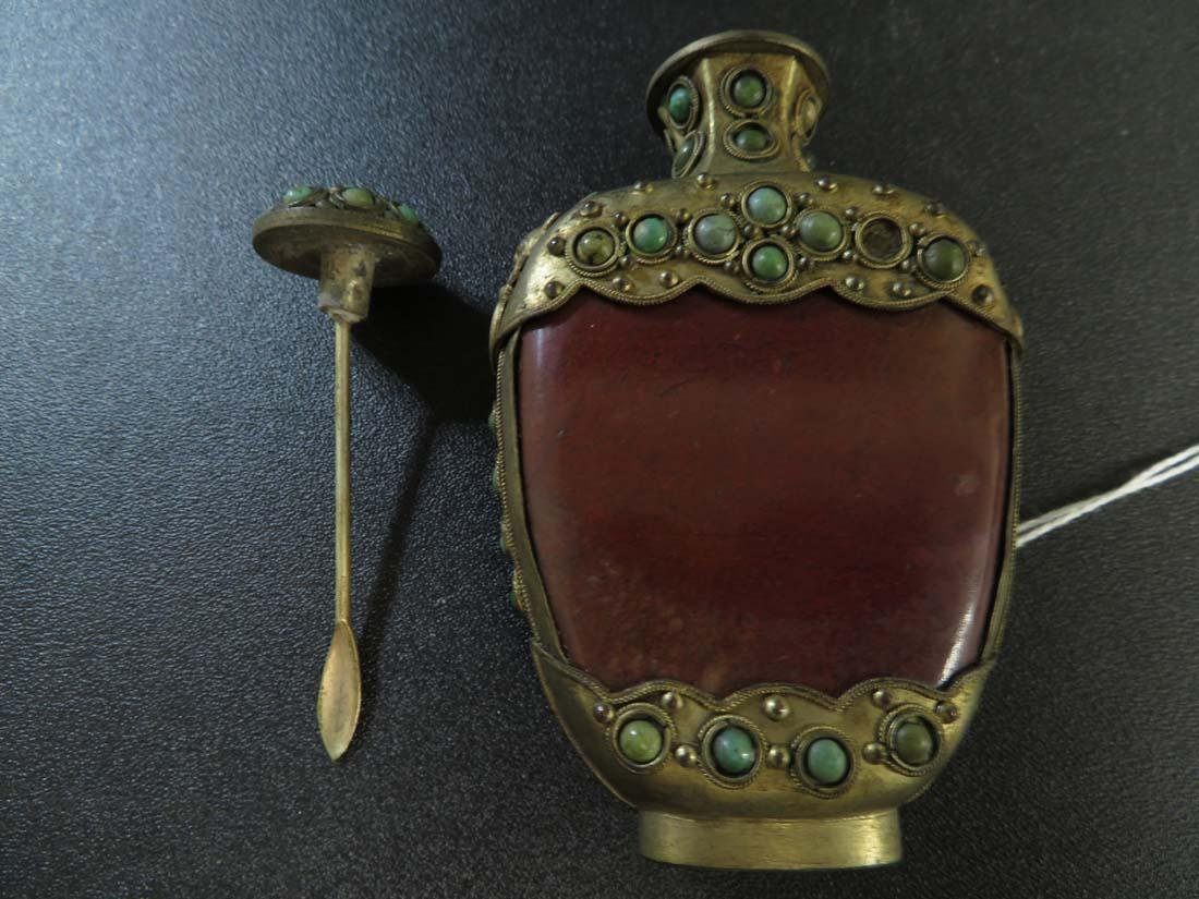 Chinese Mongolian Snuff Bottle Red Stone ? Gilt - 6