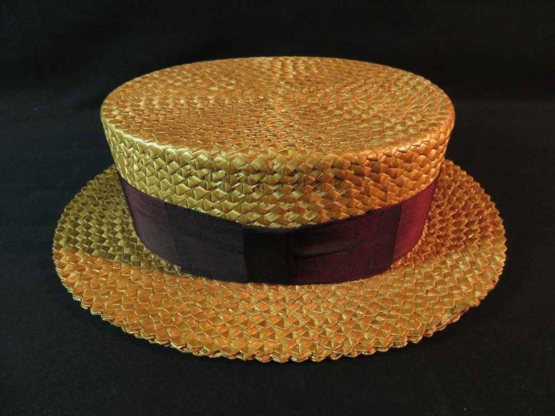f06cc76dadae0 Vintage Saks Fifth Avenue Straw Boater Hat