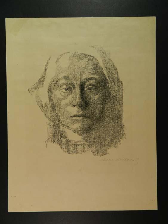 Kathe Kollwitz Rare Self Portrait Pencil Signed