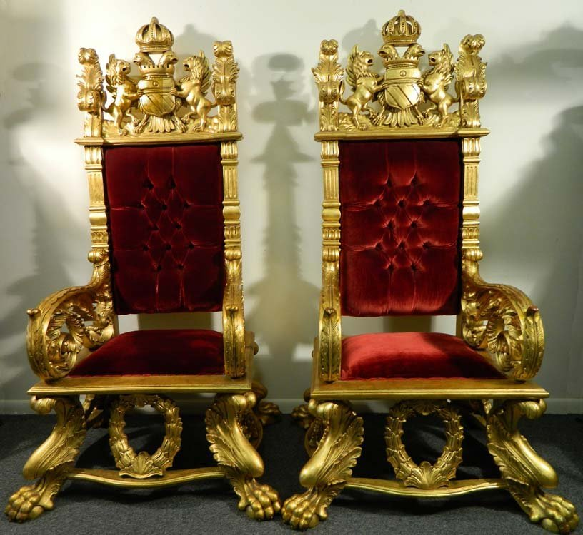 English Gilded Throne Chairs Thanos Lion & Eagle