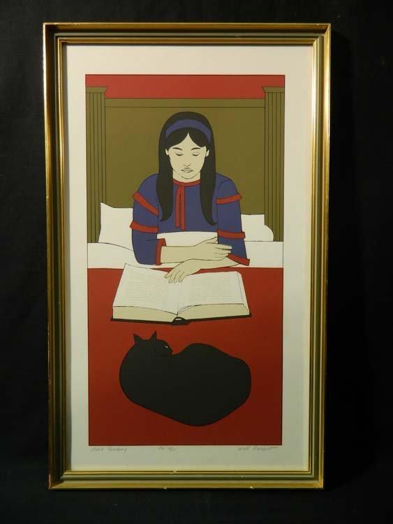Will Barnet Serigraph Rare Child Reading in Red