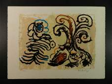 Pierre Alechinsky Abstract Lithograph