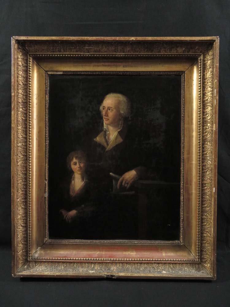 18th C Portrait of Man & Son Scroll Desk