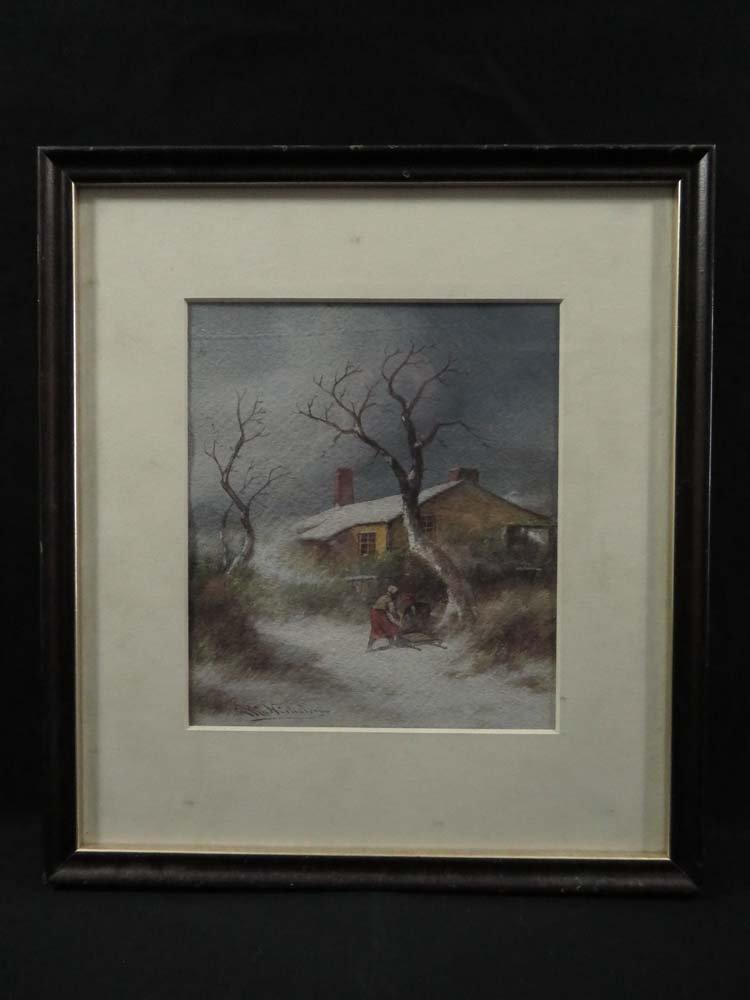 GW Nicholson Man & Woman Snow Sled Winter